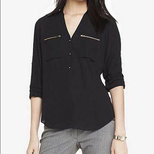 Express Zip Pocket Half Placket Soft Shirt